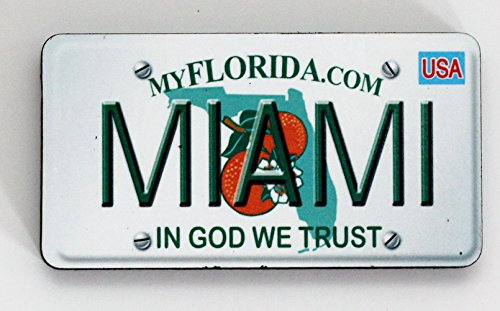 Miami Florida License Plate Wood Fridge Magnet 3