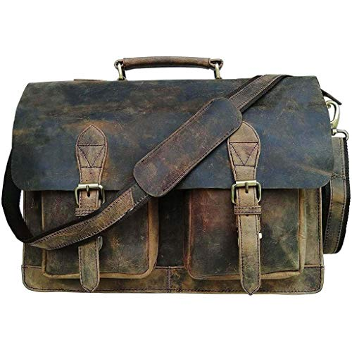 (Vintage Retro Buffalo Leather Briefcase)