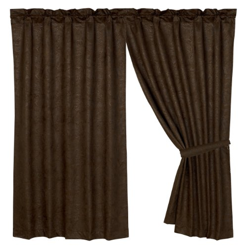 HiEnd Accents Faux Tooled Western Leather Curtain For Sale