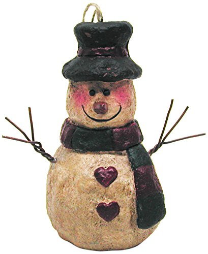 Craft Outlet Papier Mache Snowman with Red and Green Scarf, 4.5-Inch, Set of 6