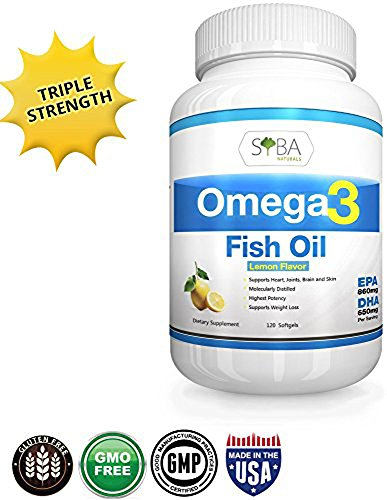 Omega 3 Fish Oil Supplements - with Lemon Oil, 120 Triple Strength Softgels, 1300mg, 600mg DHA + 900mg