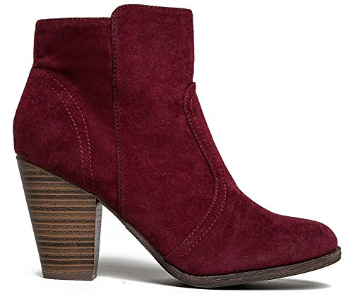 34 34w Booties Faux Heel HEATHER Women's Suede Ankle Wine Breckelles Chunky Z6Rxqw4