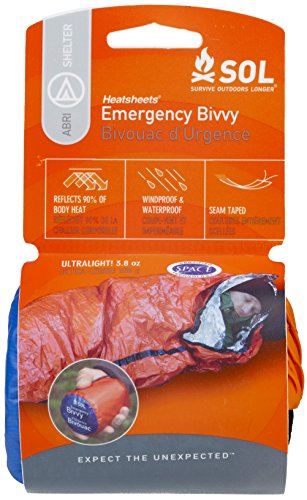 S.O.L Survive Outdoors Longer Reflective Emergency Bivvy Blanket | Waterproof and Lightweight with 90 Percent Heat Reflectivity | Orange