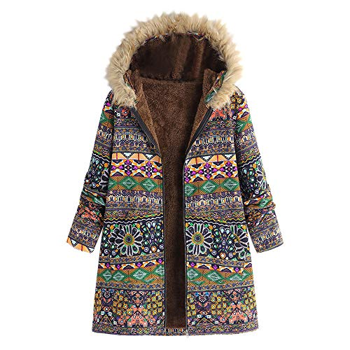 (Womens Winter Vintage Floral Print Fur Hooded Oversize Coats Jacket Pockets Outwear Green)