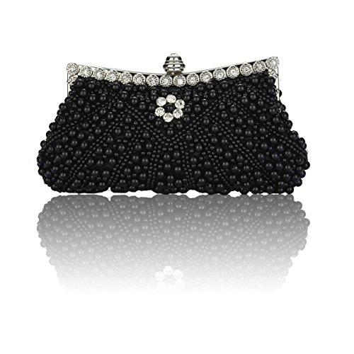 Wedding Purse For Women Beaded Pearl Bag Black Party Clutch Evening Rhinestone waXYXA8