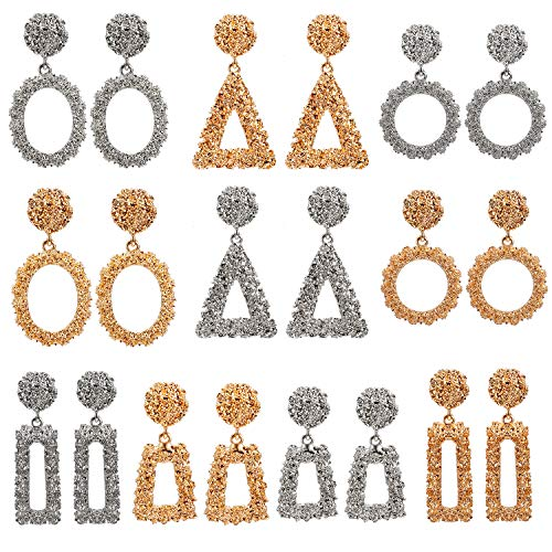 10 Pairs Mixed Wholesale Gold/Silver Raised Design Statement Earrings Punk Style Drop Earrings for Women Geometric-Shaped Chunky Metal Fashing Eardrops Lightweight Big Dangle Earrings Set (1#)