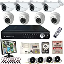 8 Ch Channel Security Surveillance System H.264 DVR Clouid Option Indoor Outdoor CCTV 2TB+LCD