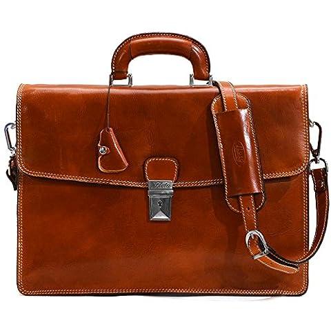 Floto Full Grain Leather Milano Briefcase Attache Laptop Case in Olive Brown - Attache Brief