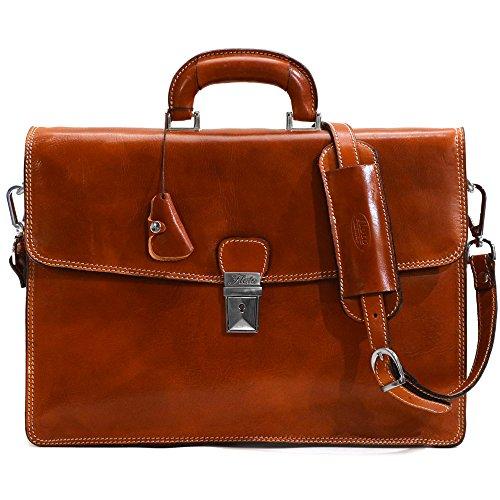 Floto Full Grain Leather Milano Briefcase Attache Laptop Case in Olive Brown - Milano Ladies Computer Bag