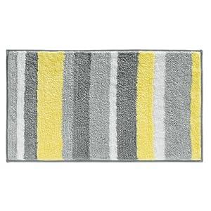 InterDesign Microfiber Stripz Bathroom Shower Accent Rug, 34 x 21, Gray/Yellow