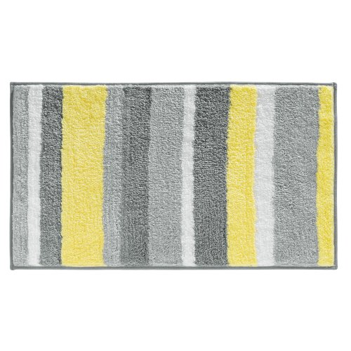 Dynamic Rugs Acrylic Rug - InterDesign Microfiber Stripz Bathroom Shower Accent Rug, 34 x 21, Gray/Yellow