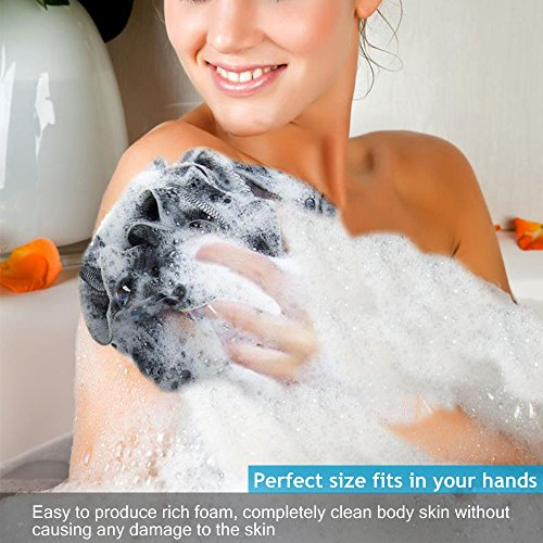Bath Sponge,Loofah Bath Shower Sponge,Extra Large Mesh Pouf,Shower Poofs,Bath Pouf,Lufa Sponge,Shower Pcrub for Men and Women Full Lather Cleanse,Exfoliate with Bathing Accessories(3 Pack) by VANVEVE (Image #3)