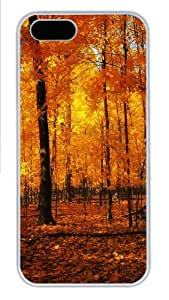iPhone 5S Case Cover - Orange Forest Cool PC Hard Case for iPhone 5S/5 - White