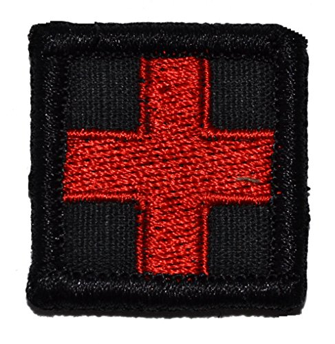 Velcro Cross - Medic Red Cross 1x1 inch Morale Patch - Multiple Colors (Black)