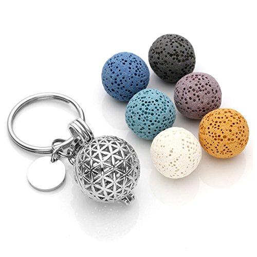 JOVIVI Vintage Flower of Life Locket Essential Oil Diffuser Keychain + 6 Lava Rock Stone Beads,Stainless Steel Key Ring Keychain