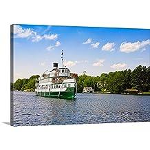 Canvas On Demand Premium Thick-Wrap Canvas Wall Art Print entitled Wenonah II steamship in a lake, Lake Muskoka, Gravenhurst Bay, Ontario, Canada