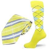 yellow and light blue - Spotlight Hosiery brand Men's Dress Socks &Necktie Set Bright yellow/Light Blue/White