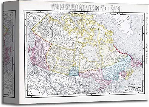 アンティークヴィンテージカラーマップのカナダギャラリーWrappedキャンバスアート 8in. x 10in. B0747YLJ6M  8in. x 10in.