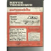 RTA Revue technique automobile 422. 1982. Talbot Simca Samba LS GL GLS Cabriolet. Evolution: Peugeot 305 1979 -->. Volkwagen Polo Derby & Audi 50 1978-1981. Passat 1974 - 1980.