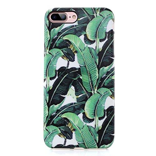 GOLINK iPhone 7 Plus Case/iPhone 8 Plus Floral Case, Matte Floral Series Slim-Fit Anti-Scratch Shock Proof Anti-Finger Print Flexible TPU Gel Case for iPhone 7/8 Plus 5.5 - Banana Leaf