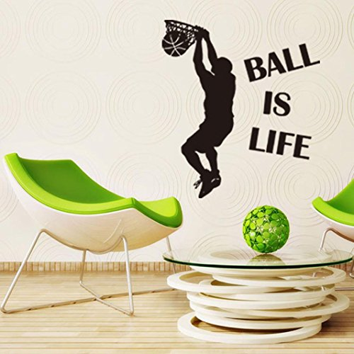 Sikye Ball Is Life Wall Sticker Decor Basketball Court Wall Decal Vinyl Art Sticker (Where To Buy Angel Wings)