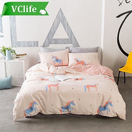 VClife Chic Unicorns Bedding Sets Boys Girls Cartoon Duvet Cover Sets Cotton 3 pcs Bed Collection, Twin