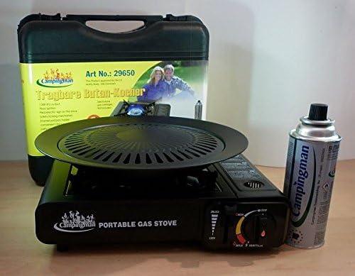 Campingman Cocinilla de camping Butano Cocina de gas incl. Maleta + Gas kar aplicar el rimel + Accesorio de parrilla según elección - Negro, Gaskocher ...