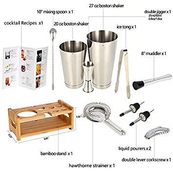 Cocktail Shaker Set Expert Bartender Kit – 20 27 oz Stainless Steel Bar Tools Kit with Stand All In One for Drink Mixing Set 10-piece set