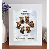 Airedale Terrier Life is Merrier Free Standing 10 x 8 Mounted Picture by Something Special Gift Shop