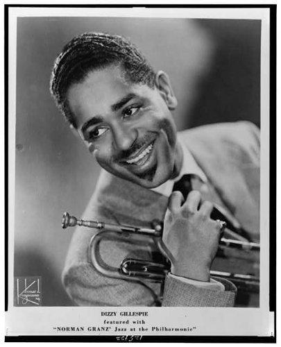 Photo: Dizzy Gillespie, Norman Granz, Jazz at the Philharmonic, holding trumpet, 1955 . Size: 8x10 (