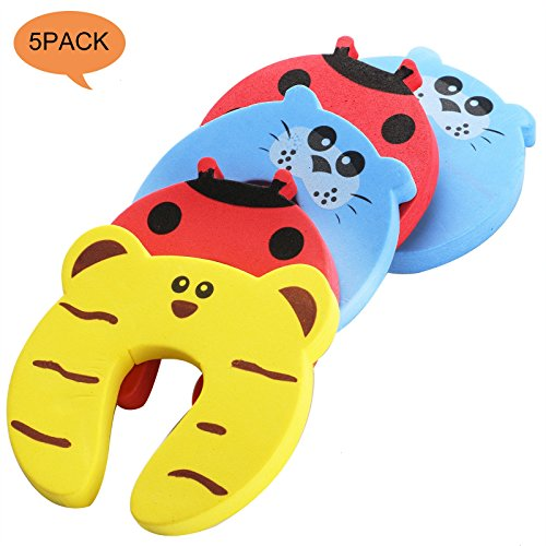 Children Safety No Finger Pinch Foam Door Stopper, Colorful Cartoon Animal Cushion, Bundled Baby Child Kid Cushiony Finger Hand Safety, Curve Shaped Door Stop Guard 5 PCS