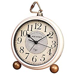 JUSTUP Desk Clock Silent, Retro Vintage Non-Ticking Desk Table Clock Small Decorative 5.2 in Alarm Clock Battery Operated with Large Numerals and HD Glass for Kids Seniors Indoor Decor (Arabic)