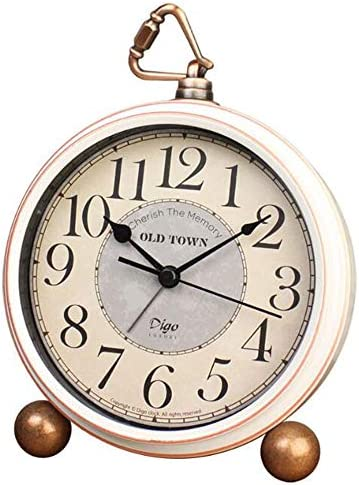 JUSTUP Silent Table Clock,5.2 in Retro Vintage Non-Ticking Desk Table Clock Small Decorative Alarm Clock Battery Operated with Large Numerals and HD Glass for Kids Sensors Indoor Decor Arabic