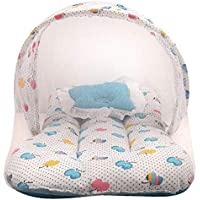 Dual Color Fruit Print Bedding Set with Foldable Mattress, Pillow and Zip Closure Mosquito Net