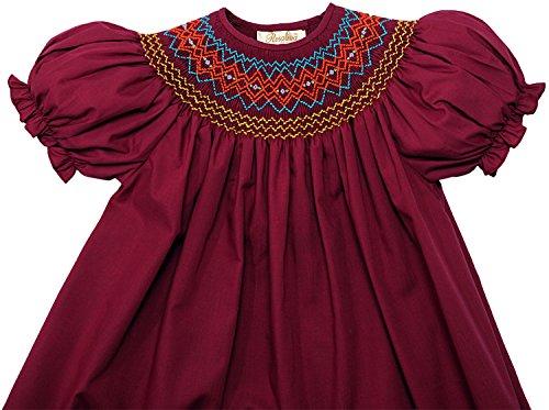 Rosalina Big Girl's Burgundy English Smocked Bishop Dress 5Y