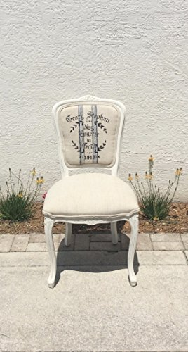 Navy Blue Chalk Stripe - Louis XV French Style Square Back Side Chair | Vintage Grain Sack Fabric