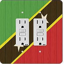 Rikki Knight 8775 Gfidouble Saint Kitts & Nevis Flag On Distressed Wood Design Light Switch Plate