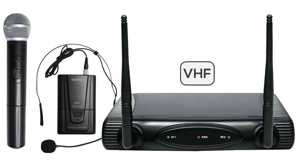 SET 6082PL-A - Doppio radiomicrofono VHF (archetto + gelato) per animazioni, karaoke... 175,50/197,15 mhz KARMA