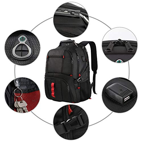 Extra Large Backpack,TSA Friendly Durable Travel Laptop Computer Backpack for Men Women with USB Charging Port,Water Resistant Big Business College School Bookbag Fits 17 Inch Laptops,Black