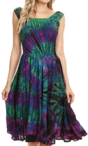 Sakkas 181476 - Alba Women's Off The Shoulder Smock Ruffle Midi Dress Tie Dye & Embroidery - Raspberry - OS