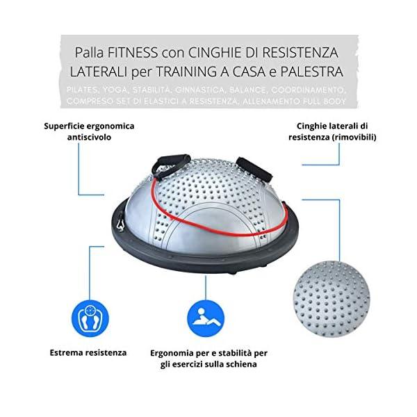 NORDERBRØ - Balance Ball, Palla Fitness per Training PRO con Cinghie Laterali, Pilates, Stabilità, Allenamento… 3 spesavip