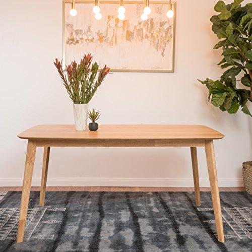 (GDF Studio 298945 Anne Natural Oak Finish Wood Dining Table,)
