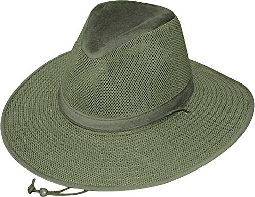 - Henschel Crushable Soft Mesh Aussie Breezer Hat, Olive, Medium