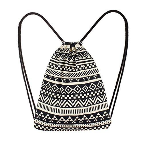 (YJYDADA Bag,Fashion Women Canvas Ethnic Wind Pocket Drawstring Bag Backpack Student Bag (Black))