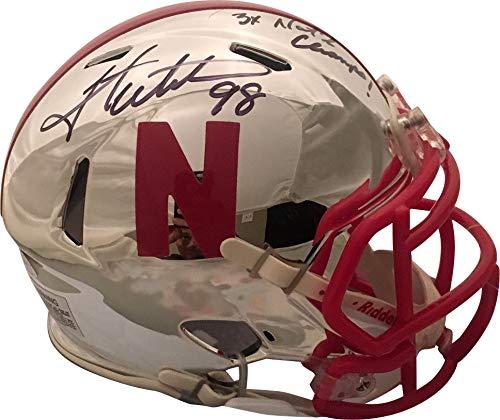 Grant Wistrom Autographed Nebraska Cornhuskers Signed Chrome Football Mini Helmet 3 X CHAMPS JSA COA