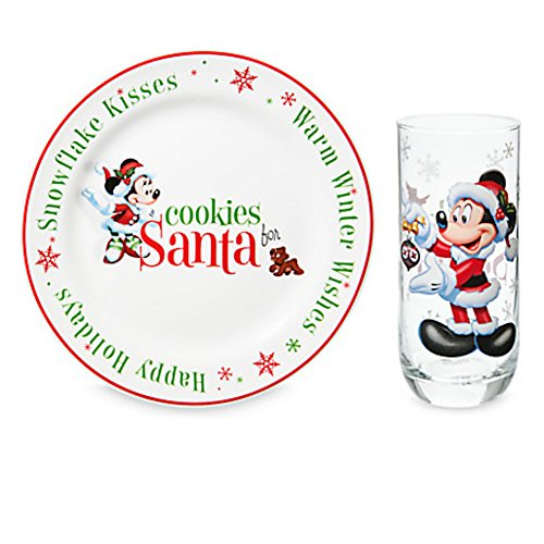 Disney Cookies and Milk for Santa Holiday Glass and Plate Set