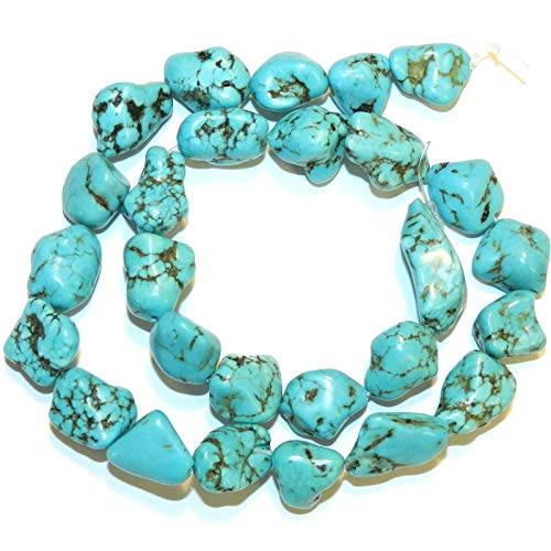 Blue-Green Turquoise 8mm - 18mm Polished Nugget Magnesite Gemstone Beads #ID-475