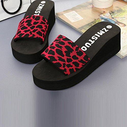 Estate Donna Scarpe Pantofole Antiscivolo Da Fondo Punta Piatto Ciabatte  Spesso Sandali Piattaforma Casuale Byste Rosso ... f2ee29a2c45