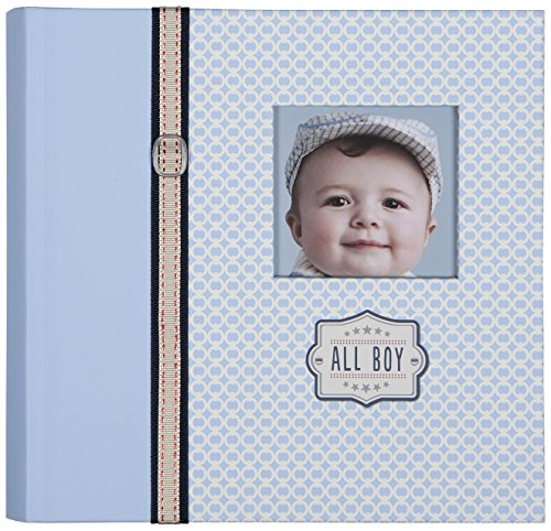 - C.R. Gibson Slim Bound Photo Journal Album, Designer Pages, Space For Journaling, Holds 160 Photos, 80 Acid Free PVC Free Photo Safe Pages -All Boy