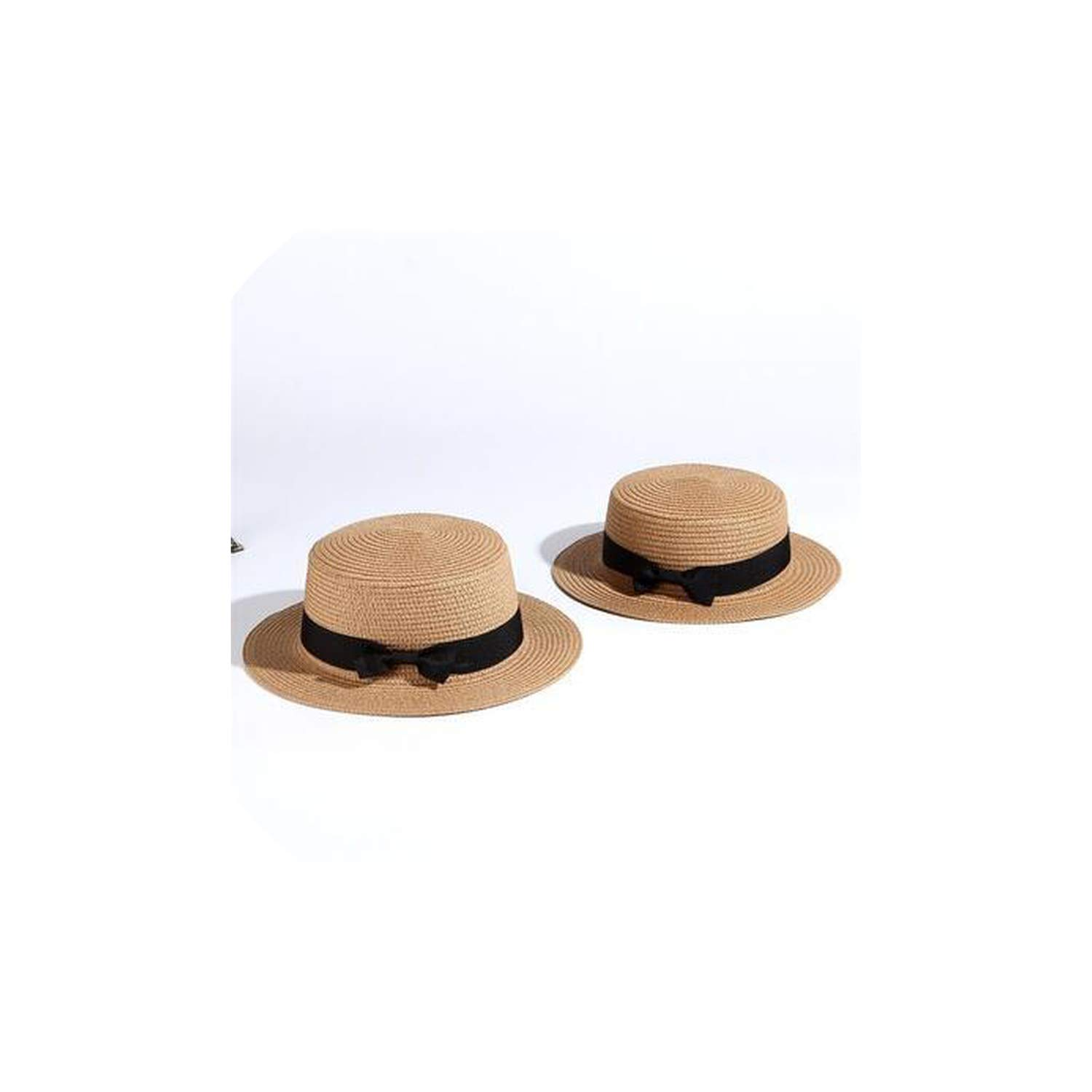 Parent-Child Sun Hat Bow Hand Made Straw Cap Beach Flat Brim Hat